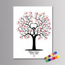 details about am diy fingerprint tree signature canvas painting guest book wedding decor new