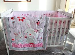 girl baby bedding set cotton 3d embroidery rabbit flowers insects quilt per mattress cover bedskirt pink baby bedding baby was high grade baby bedding
