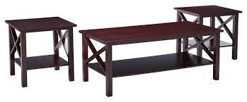 mauve 3 piece wood x style coffee table