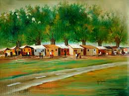 african landscape painting of a small town in ghana panorama ii novica