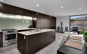 chocolate brown kitchen cabinet with modern recessed lighting for modern kitchen decorating ideas