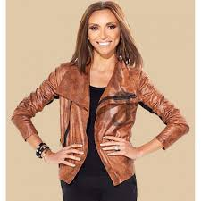 limited edition hsn giuliana rancic brown leather jacket womens jackets