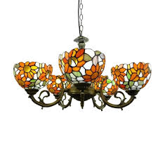 orange red sunflower tiffany style 6 light chandelier in antique bronze finish