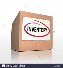 Word Inventory The Word Inventory On A Paper Box Over White Background