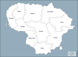 ليتوانيا خريطة مجانية, خريطة خاليه من الفراغ, خريطة الخطوط العريضة, خريطة  القاعدة الحرة الخطوط العريضة, مناطق, أسماء