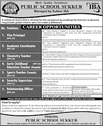 sports teachers job public school sukkur managed by iba job vice sports teachers job public school sukkur managed by iba job vice principal academic coordinator chemistry teacher security supervisor