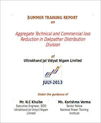 Training Report Cover Page 45 Sample Reports In Docs