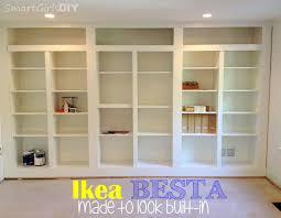 ... Uncategorized Built In Bookshelves Diy Using Ikea Besta Family Room  Uncategorized Made To Look Astonishing Bookshelf