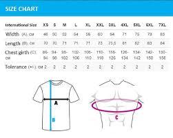 Mens International T Shirt Size Chart Nils Stucki