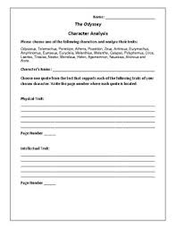 The Odyssey Character Chart The Odyssey Character Analysis Activity Homer