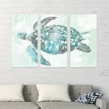 artissimo designs soft aqua sea turtle canvas wall art 3 piece set on seafoam green and gold wall art with canvas art wall decor home decor kohl s