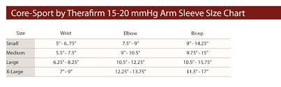 Mcdavid Compression Arm Sleeve Sizing Chart Therafirm Core Sport 15 20mmhg Compression Arm Sleeves
