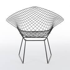 Original Harry Bertoia Black Knoll Diamond Chairs with Fabric ...