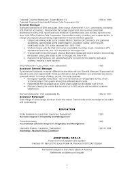 Restaurant Manager Skills Resume General Job Description Sample