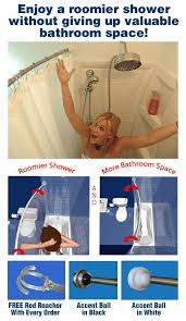 expand your bathroom space with the rotator rod rotating curved shower curtain rod the
