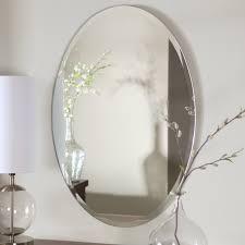 bathroom vanity mirror oval. Oval Shape Frameless Bathroom Wall Mirror Hang On Grey Color Using White Drum Shade Table Lamp Vanity W