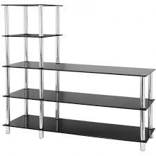 rtg l shape 5 tier black glass shelftv unit