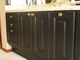 Refinishing Oak Bathroom Cabinets Dark Stain Color With Door And