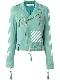 off white striped print biker jacket mint white women clothing jackets off white flannel
