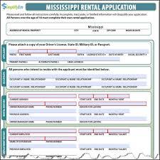 Rental Application Form Mississippi Screenshot Samples Template