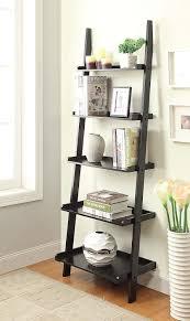 Full Size of Furniture, Minimalist ladder bookshelf ikea 5 tier shelves  wood msterial black finish ...