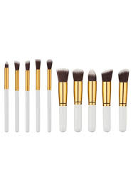 brush works white and gold 10 piece white and gold makeup brush set bl157be05eziph 1