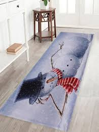 grey white w16 inch l47 inch lying snowman print anti skid water absorption area rug taotgu