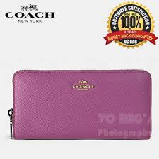 COACH F52372 Accordion Zip Wallet In Embossed Textured Leather  Gold Pink  Ruby
