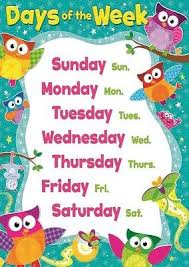 Days Of The Week Chart For Toddlers 53 Faithful Day Chart For Children