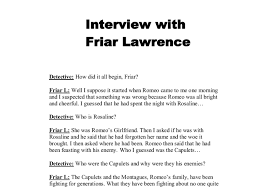 interview friar lawrence gcse english marked by teachers com document image preview