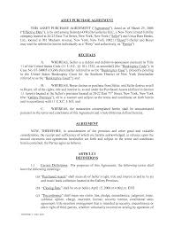 Sample Asset Purchase Agreement Sample Asset Purchase Agreement Resume Template Sample 1