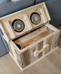 pallet dog bowl stand with storage intended for wooden decorations 2