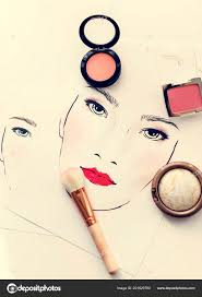 top view blushers brush face chart makeup training stock photo