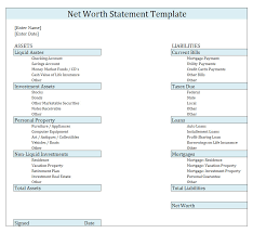 Networth Form Net Worth Statementlate Download Free Format In Excel Personal Form