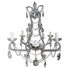 five light french crystal beaded chandelier circa 1930s