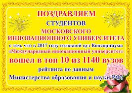 Поздравления студентов МИУ Данные рейтинга Министерства образования и науки РФ kartavuzov ru application university view 424