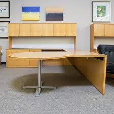 large office tables. Used Left D-Top U-Shaped Office Desk With Large Hutch (Maple) Tables