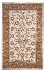 traditional persian royal hand tufted wool area rug carpet 5x8 ivory brown beige