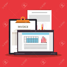 Computer With Graph Chart Finance Related Icons Image Vector