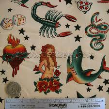 1.25 Yards TATTOO ART Natural Paper BagTan Color Skull Quilt ... & 1.25 Yards TATTOO ART Natural Paper BagTan Color Skull Quilt Fabric by  Alexander Henry - Last Piece - Tatoo Ink Art Adamdwight.com