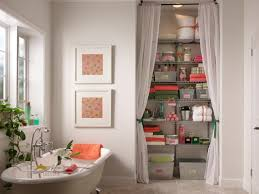 pink and green bath closet