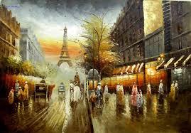 berte big paris street scene oil painting france gorgeous