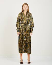 Ganni Heavy Satin Wrap Dress Jacket Kalamata Green On Garmentory