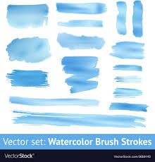 Set Of Blue Watercolor Brush Stroke Royalty Free Vector
