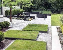 modern landscape with gravel garden