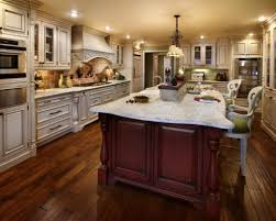 Kitchen:Stylish Kitchen Design With Traditional White Kitchen Cabinet And  Huge Red Cherry Wood Kitchen