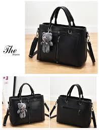Nice Cheap Designer Bags Pongwee Nicehigh Capacity Women Black Retro Vintage Fashion Pu Luxury Bag Designer Handbags Cute Bear Tote Shoulder Lady Bag Cheap Designer Handbags