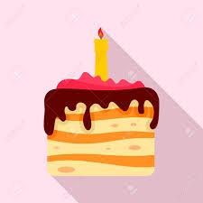 Flat Birthday Cake Designs Birthday Cake Icon Flat Illustration Of Birthday Cake Vector
