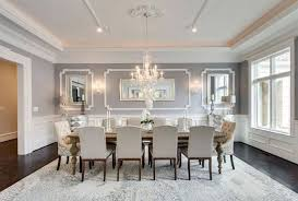 11 dining rooms images elegant gray formal dining room with wainscoting and crystal chandelier