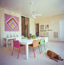 colorful dining chairs with painted white wooden dining table